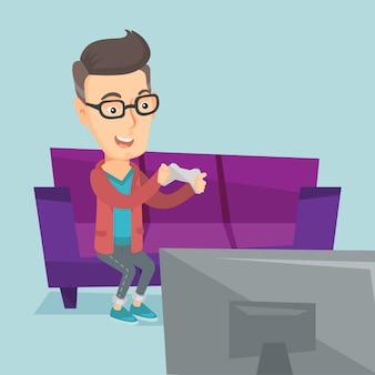 Uomo che gioca l'illustrazione di vettore del video gioco.