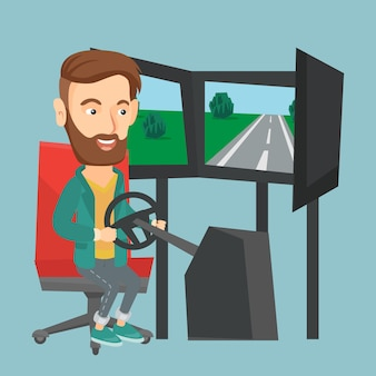 Uomo che gioca video gioco con la ruota di gioco.