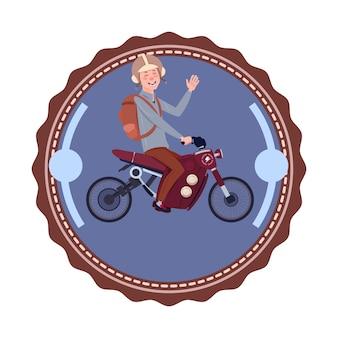 Uomo che guida l'icona d'annata di progettazione di logo del motociclo moderno della montagna isolata