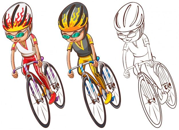 Uomo che guida la bicicletta in tre schizzi