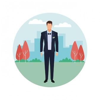 Uomo che indossa icona rotonda smoking
