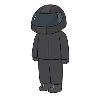 Uomo che indossa il casco