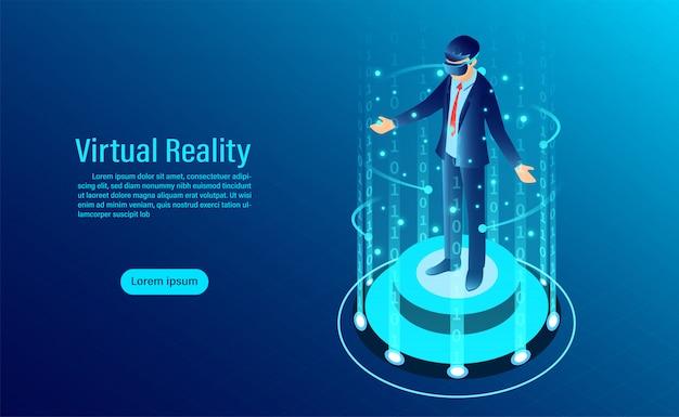 Uomo che indossa occhiali di protezione con interfaccia commovente nel mondo della realtà virtuale. tecnologia del futuro