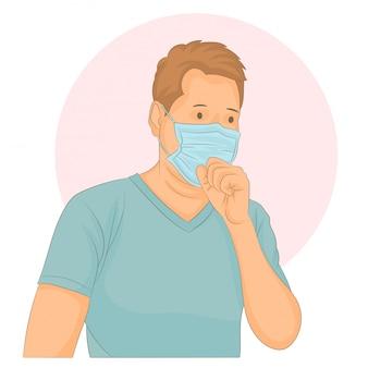 Uomo che indossa una maschera con la tosse