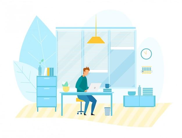 Uomo che lavora al computer in ufficio moderno tech