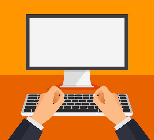 Uomo che lavora al computer. tipo o stampa del ragazzo su una tastiera davanti ad un monitor bianco in bianco. modello di computer con schermo bianco vuoto. illustrazione.