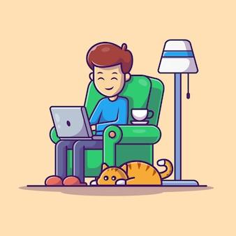 Uomo che lavora all'illustrazione del computer portatile. personaggio dei cartoni animati di lavoro da casa mascotte. le persone isolate