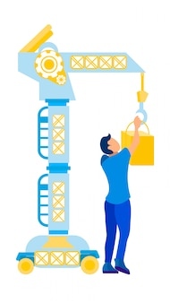 Uomo che lavora con lifting crane vector illustration