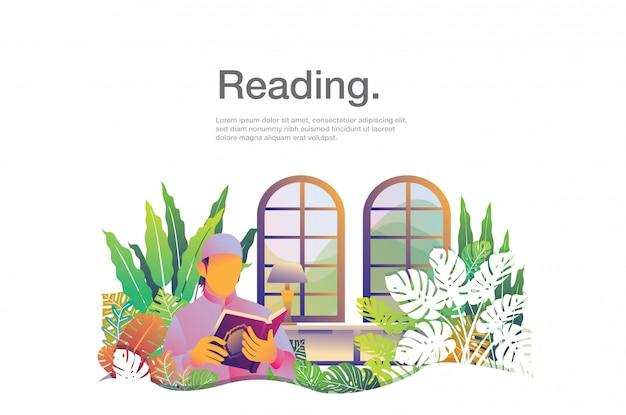 Uomo che legge l'illustrazione con il modello di testo