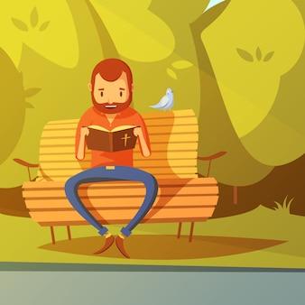Uomo che legge l'illustrazione della bibbia