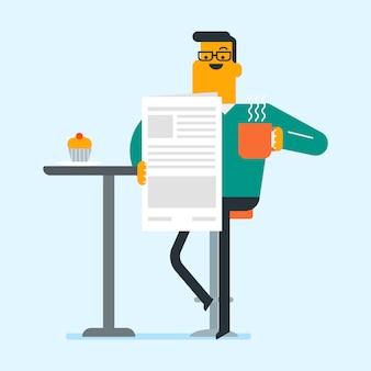 Uomo che legge un giornale e che beve caffè.