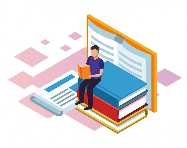 Uomo che legge un libro con grandi libri intorno su sfondo bianco, colorato isometrico