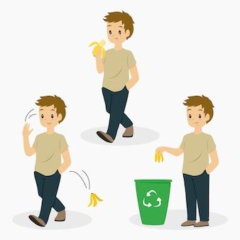Uomo che mangia la banana e getta l'insieme di vettore della buccia della banana