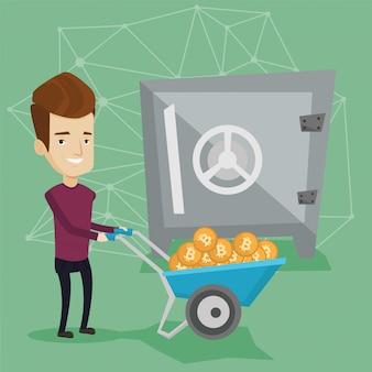 Uomo che mantiene i bitcoin nel portafoglio crypto cold.