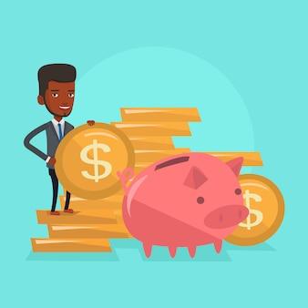 Uomo che mette moneta nell'illustrazione di vettore del porcellino salvadanaio