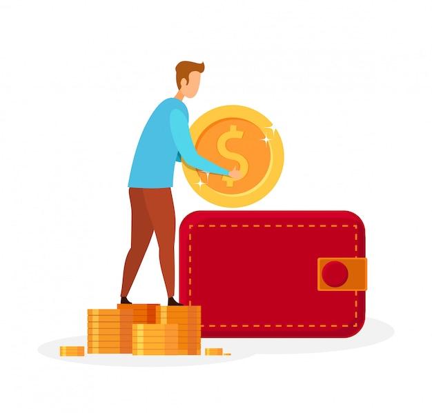 Uomo che mette soldi nell'illustrazione di vettore del portafoglio