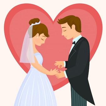 Uomo che mette un anello al dito di una donna