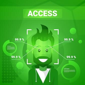 Uomo che ottiene l'accesso dopo l'identificazione del fronte scansione della tecnologia moderna del concetto di riconoscimento biometrico