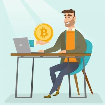 Uomo che ottiene monete bitcoin dal commercio di bitcoin.