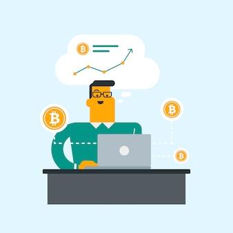 Uomo che ottiene monete bitcoin dal trading di bitcoin.