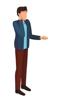 Uomo che parla con avatar di smartphone