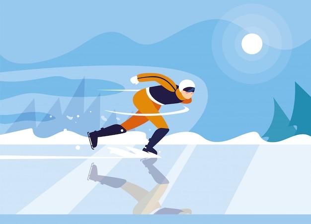 Uomo che pattina sulla pista di pattinaggio, sport invernali