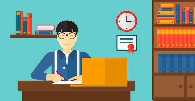Uomo che per mezzo del computer portatile per istruzione
