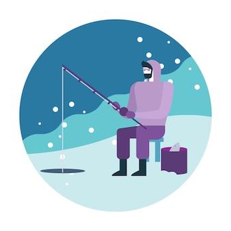 Uomo che pesca sul ghiaccio.