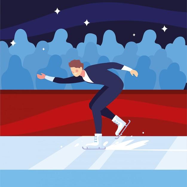 Uomo che pratica il pattinaggio di figura, sport sul ghiaccio