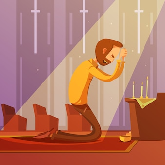 Uomo che prega in ginocchio in una chiesa cristiana