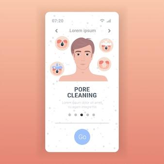 Uomo che pulisce la procedura di pulizia del viso dei pori sui passaggi del trattamento di cura della pelle del viso intasato