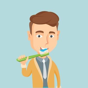 Uomo che pulisce la sua illustrazione di vettore dei denti.