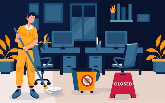 Uomo che pulisce ufficio vuoto