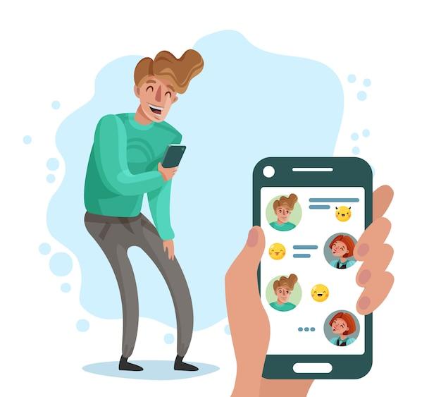 Uomo che ride con il telefono in chat con il suo cartone animato di amici