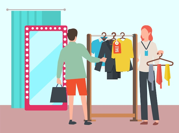 Uomo che sceglie i vestiti nel vettore del boutique di modo