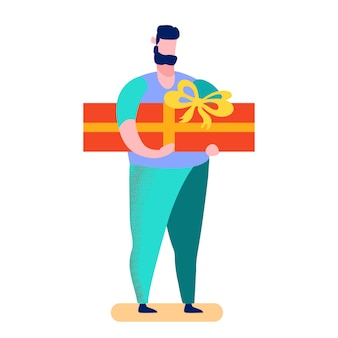 Uomo che sceglie l'illustrazione di vettore del fumetto del regalo