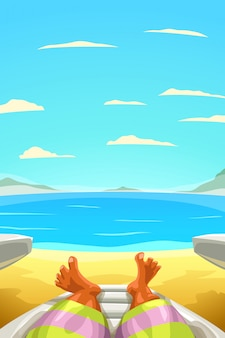Uomo che si distende sulla riva della sabbia