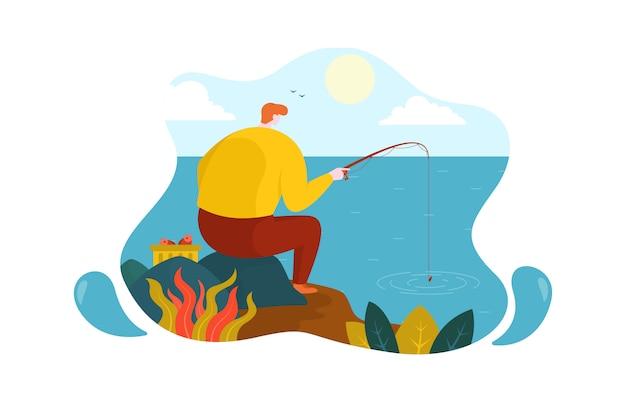 Uomo che si siede sull'illustrazione piana di pietra del lago sea di pesca