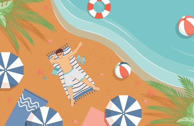 Uomo che si trova sull'illustrazione piana della spiaggia di sabbia. vacanze estive, concetto resort tropicale.