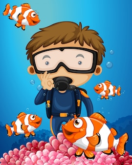 Uomo che si tuffa sott'acqua con molti pesci pagliaccio