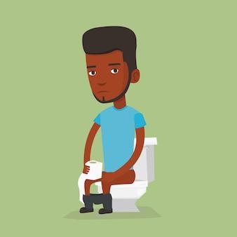 Uomo che soffre di diarrea o costipazione.