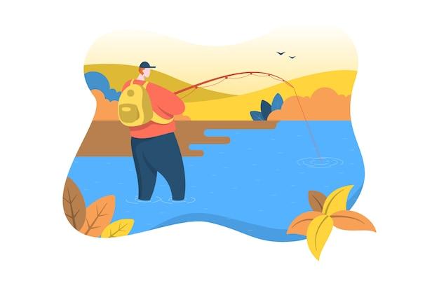 Uomo che sta rod fishing nell'illustrazione piana della natura del fiume