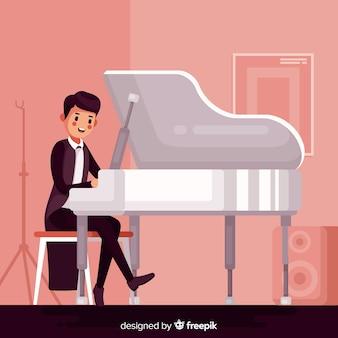 Uomo che suona il pianoforte al concerto