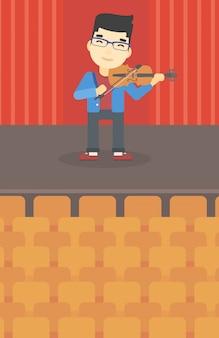 Uomo che suona l'illustrazione di vettore del violino.