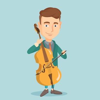 Uomo che suona l'illustrazione di vettore del violoncello.