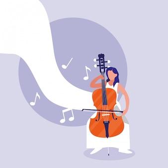 Uomo che suona lo strumento per violoncello