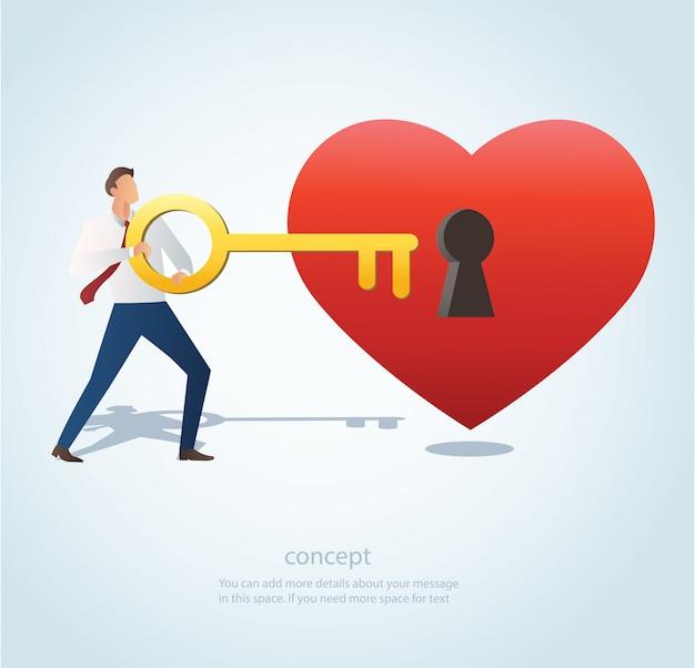 Uomo che tiene grande chiave con il buco della serratura sul vettore di cuore
