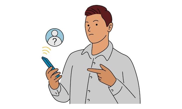 Uomo che tiene il cellulare. smartphone con schermata di chiamata sconosciuta