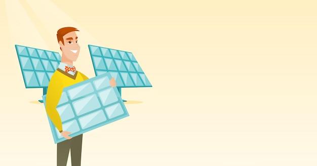 Uomo che tiene l'illustrazione vettoriale pannello solare.