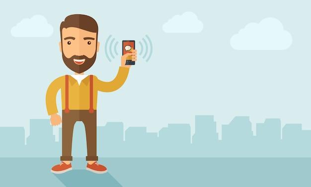 Uomo che tiene smartphone.